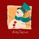 美好的圣诞节设计例证向量 与雪人的XMas邀请 快活的圣诞节 免版税库存照片