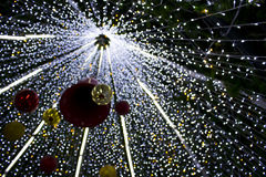 美好的圣诞节defocused bokeh光 免版税库存图片