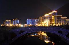 美好的城市例证横向晚上 库存图片