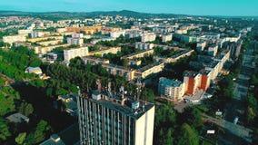 美好的城市横向 从空气的看法到高层建筑物 从寄生虫的射击 影视素材