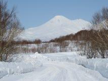 美好的堪察加半岛冬天火山的风景  免版税库存图片