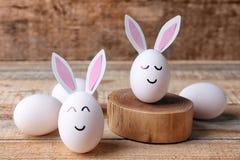 美好的复活节构成用白鸡蛋 图库摄影