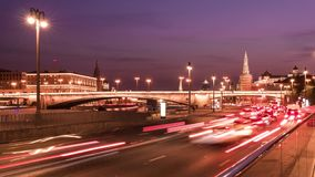 美好的夜交通4K时间间隔 莫斯科俄国 股票视频