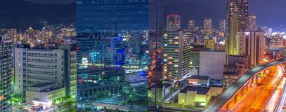 美好的夜城市scape,日本鸟瞰图  免版税库存照片