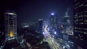 美好的夜视图在雅加达市 股票录像