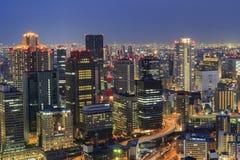 美好的大阪夜街市都市风景 免版税库存照片