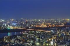 美好的大阪夜街市都市风景 免版税图库摄影