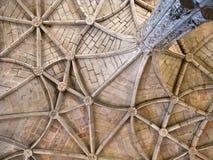 美好的天花板在Jeronimos修道院里 免版税库存照片