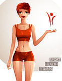 美好的夫人例证,亭亭玉立的红发女性充分的身体画象  年轻PR 免版税库存照片