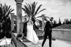 年轻美好的夫妇室外时尚画象  被限制的日重点例证s二华伦泰向量 爱 婚姻 黑色白色 免版税库存图片