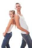 美好的夫妇愉快的爱的年轻人 免版税库存照片