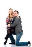 美好的夫妇愉快的纵向年轻人 免版税库存照片