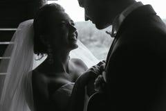 美好的夫妇照片在自然的在木小屋 库存图片