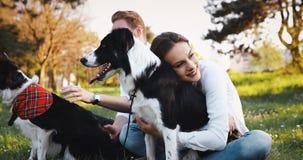 美好的夫妇走的狗和结合本质上 免版税库存照片