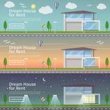 美好的套在题材现代房地产的平的传染媒介网横幅 免版税库存图片