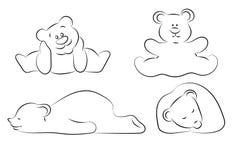 美好的套滑稽的熊剪影 向量例证