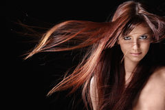 美好的女孩头发红色 库存图片