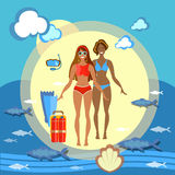 美好的女孩海滩比基尼泳装暑假 库存图片