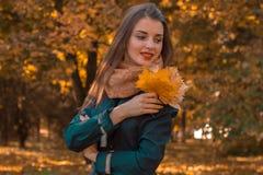美好的女孩立场在公园看起来去并且保留叶子 库存照片