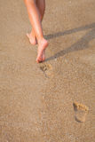 美好的女孩腿,走在海滩 免版税库存照片