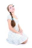 美好的女孩褶sundress 免版税库存照片