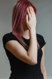 美好的女孩头发粉红色 免版税库存照片