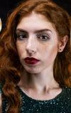 美好的女孩头发红色 图库摄影