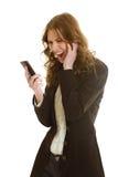 美好的女实业家电话 库存图片