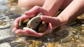 美好的女性手拿着海石头关闭  女孩坐海滩 海浪慢慢地掀动石头 股票视频
