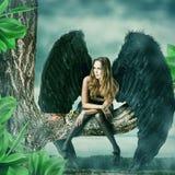 美好的女性黑天使 库存照片