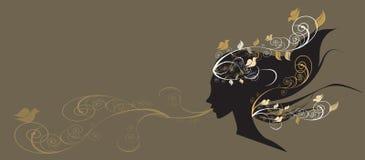 美好的女花童头发illustr 免版税图库摄影