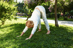 美好的妇女体育体操绿色公园自然夏天微笑 库存图片