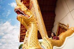美好的妇女旅行家旅行在菩萨泰国寺庙 图库摄影
