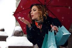 美好的妇女雪街道购买介绍圣诞节新年 库存图片