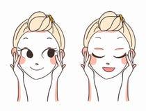 美好的妇女面孔手 应用关心皮肤透明油漆 也corel凹道例证向量 库存例证