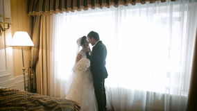 美好的婚礼夫妇临近窗口 股票录像