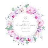 美好的婚礼花卉传染媒介设计框架 桃红色和白色牡丹,紫色兰花,紫罗兰色风轮草开花 皇族释放例证