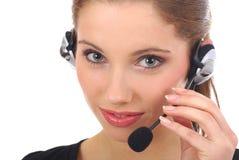 美好的客户女孩技术支持 免版税库存图片