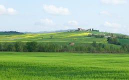 美好的小山横向典型的托斯卡纳 免版税库存图片