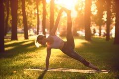 美好的少妇实践瑜伽推进了旁边板条姿势vasisthasana在公园在日落 库存图片
