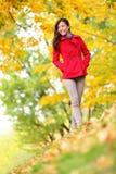 美好的少妇秋天秋天自然场面 免版税库存图片