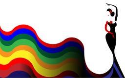 美好的少妇西班牙佛拉明柯舞曲舞蹈家跳舞佛拉明柯舞曲 在长的衣裳彩虹颜色的传统和典雅的西班牙语 库存例证