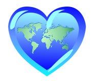 美好的尺寸地球形状表单重点例证三非常 世界是爱 pacifi的标志 免版税库存图片