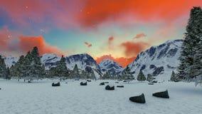 美好的山日落冬天山风景启发刺激背景 向量例证