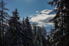 美好的山景在Verbier 库存图片