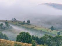 美好的山风景与和老房子、树和干草堆在一个有雾的早晨 免版税库存图片