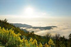 美好的山风景在多云早晨 图库摄影