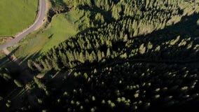 美好的山风景鸟瞰图在喀尔巴汗 股票录像