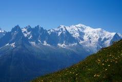 美好的山风景-勃朗峰 库存图片