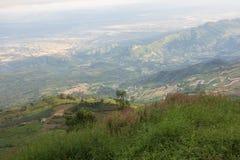 美好的山风景,山在ev下的森林风景 库存图片